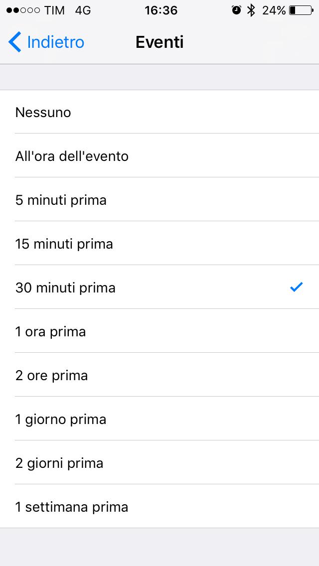 Durata eventi iOS