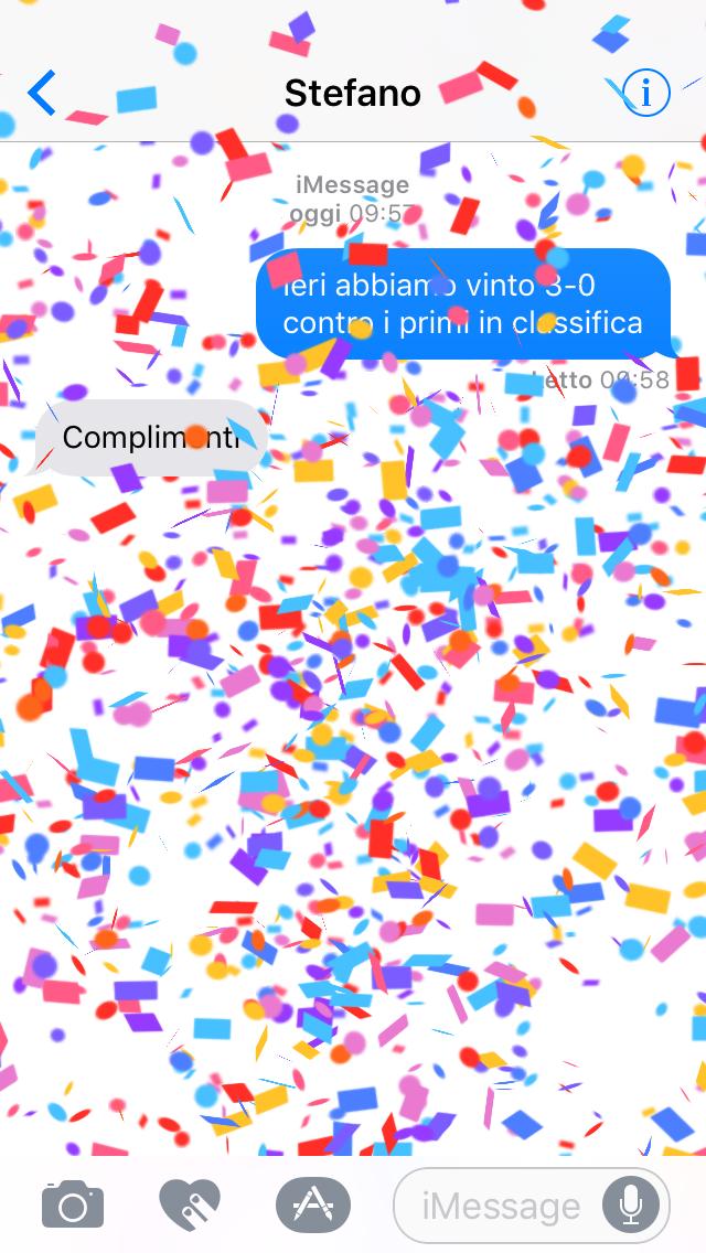 Imessagge complimenti effetto
