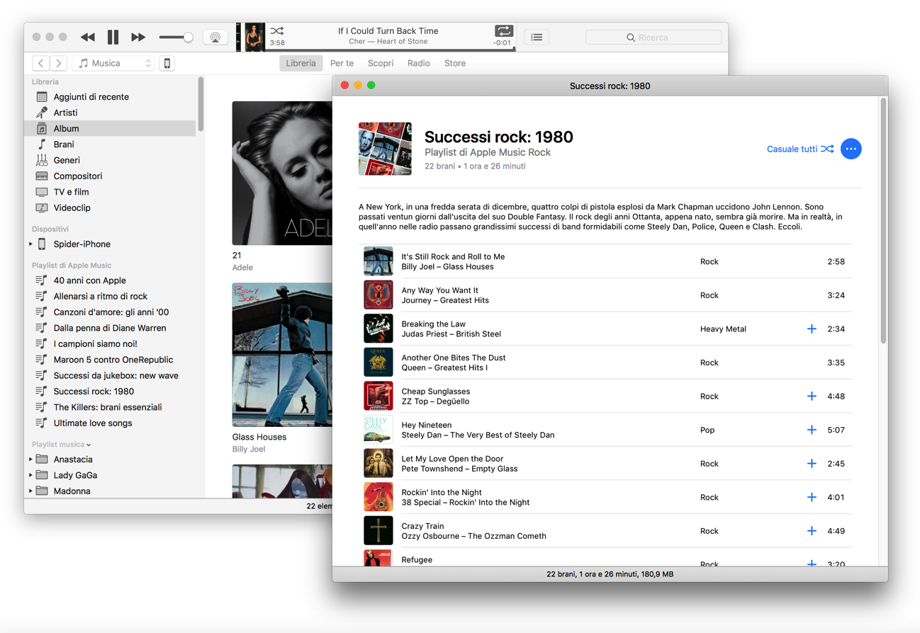 ITunes 12 6 playlist finestra