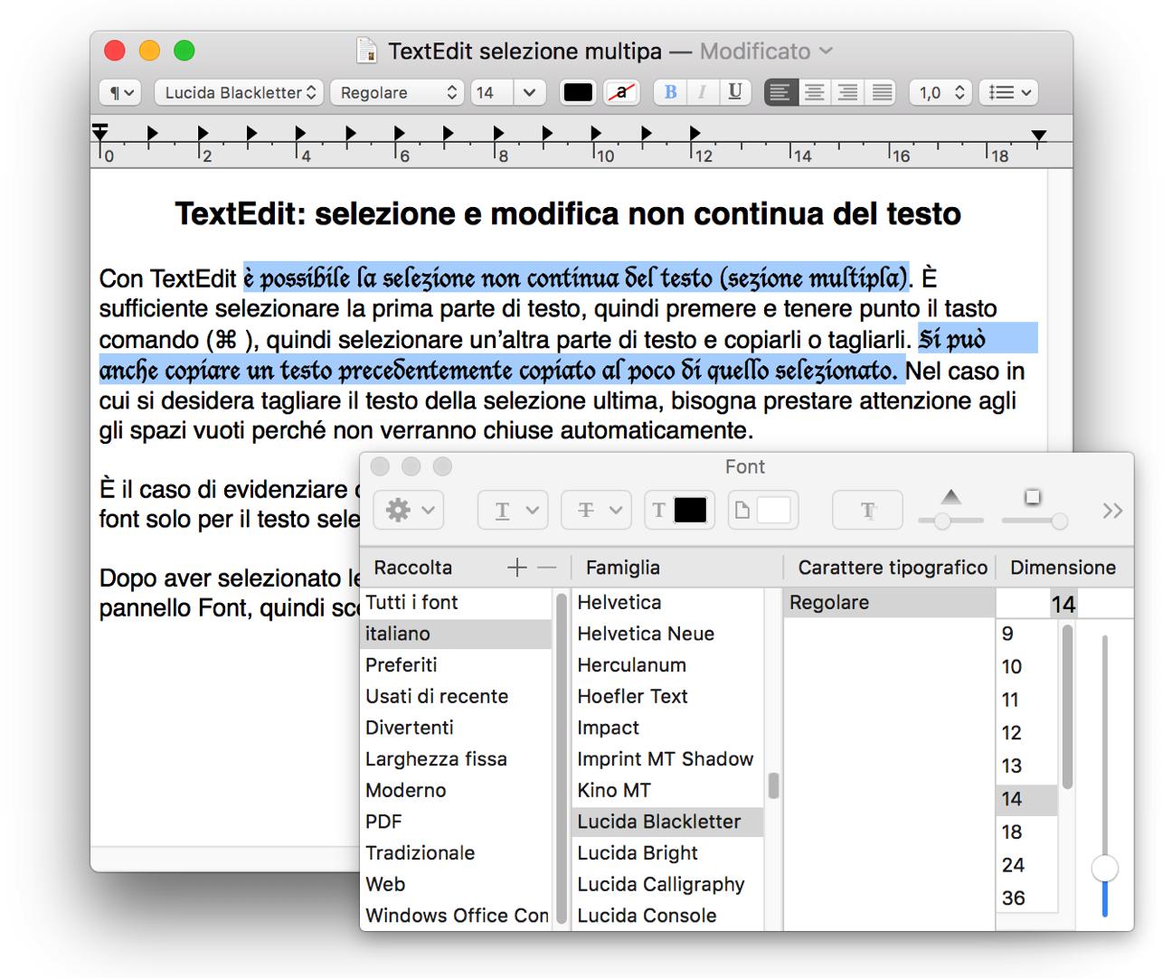 TextEdit modifica font multipla