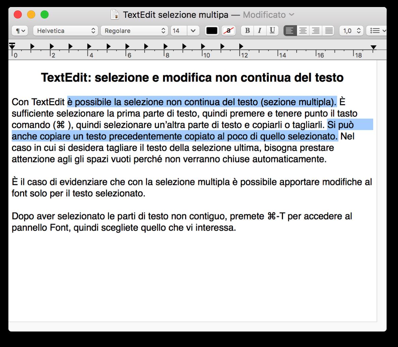 TextEdit selezione multipla