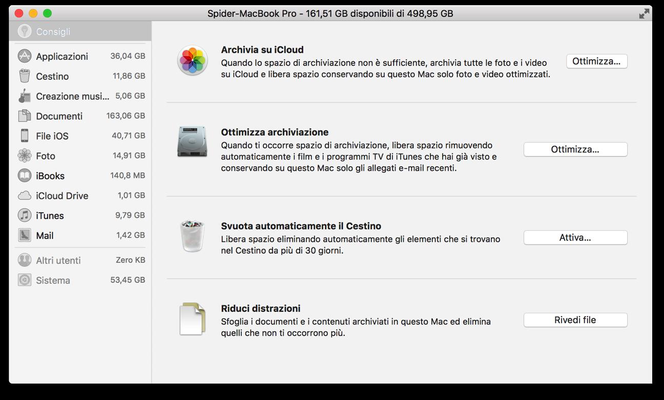 MacOS Sierra conisgli archiviazione