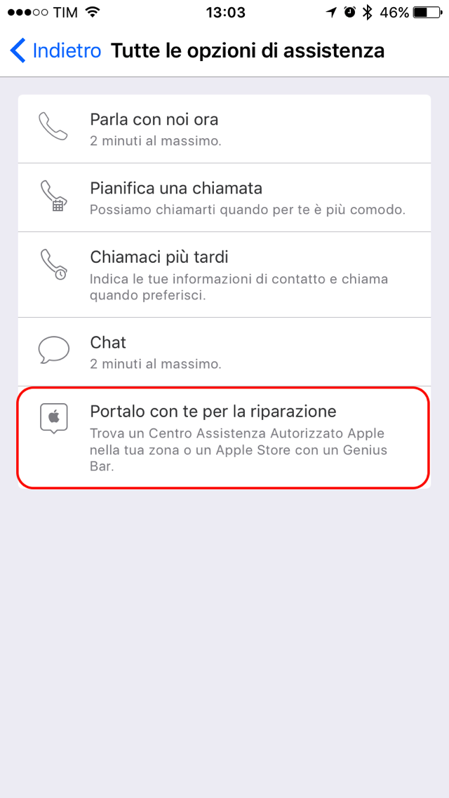 Apple Support riparazione