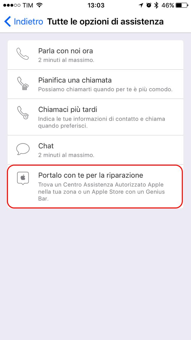 Apple Support riparazione