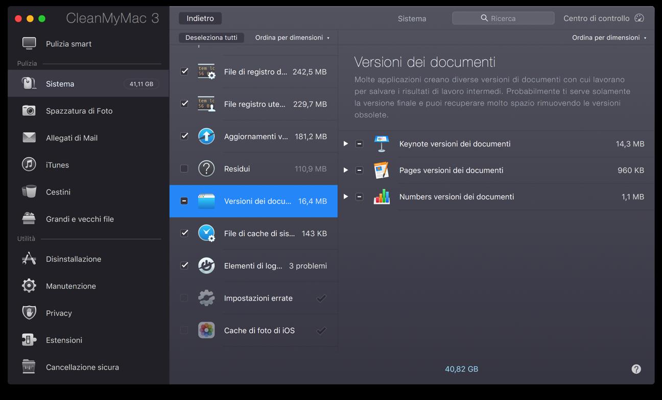 CleanMyMac file di log