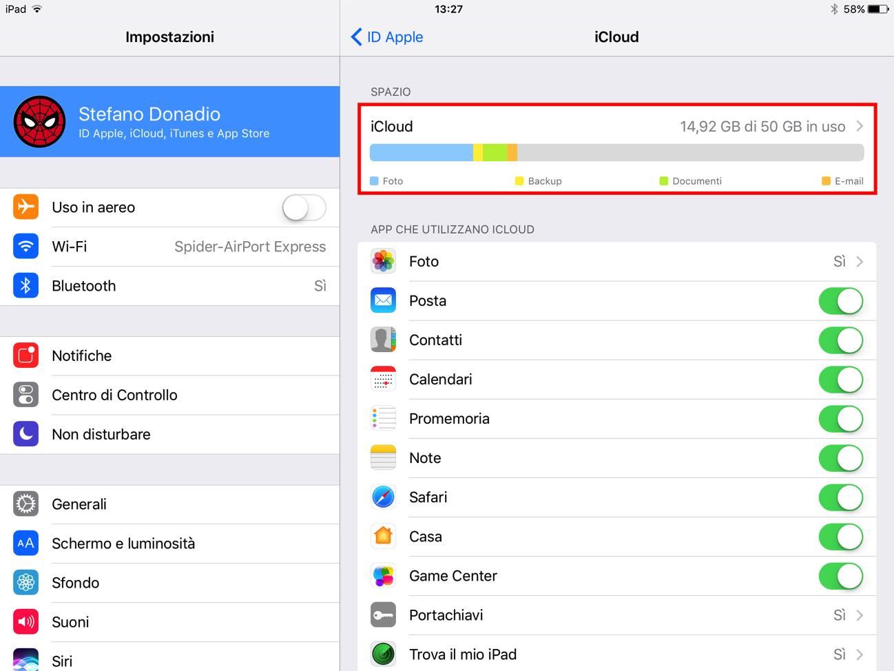 Spazio iCloud barra archivio