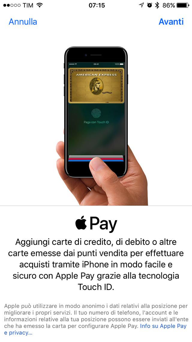 Apple pay configurazione AMEX