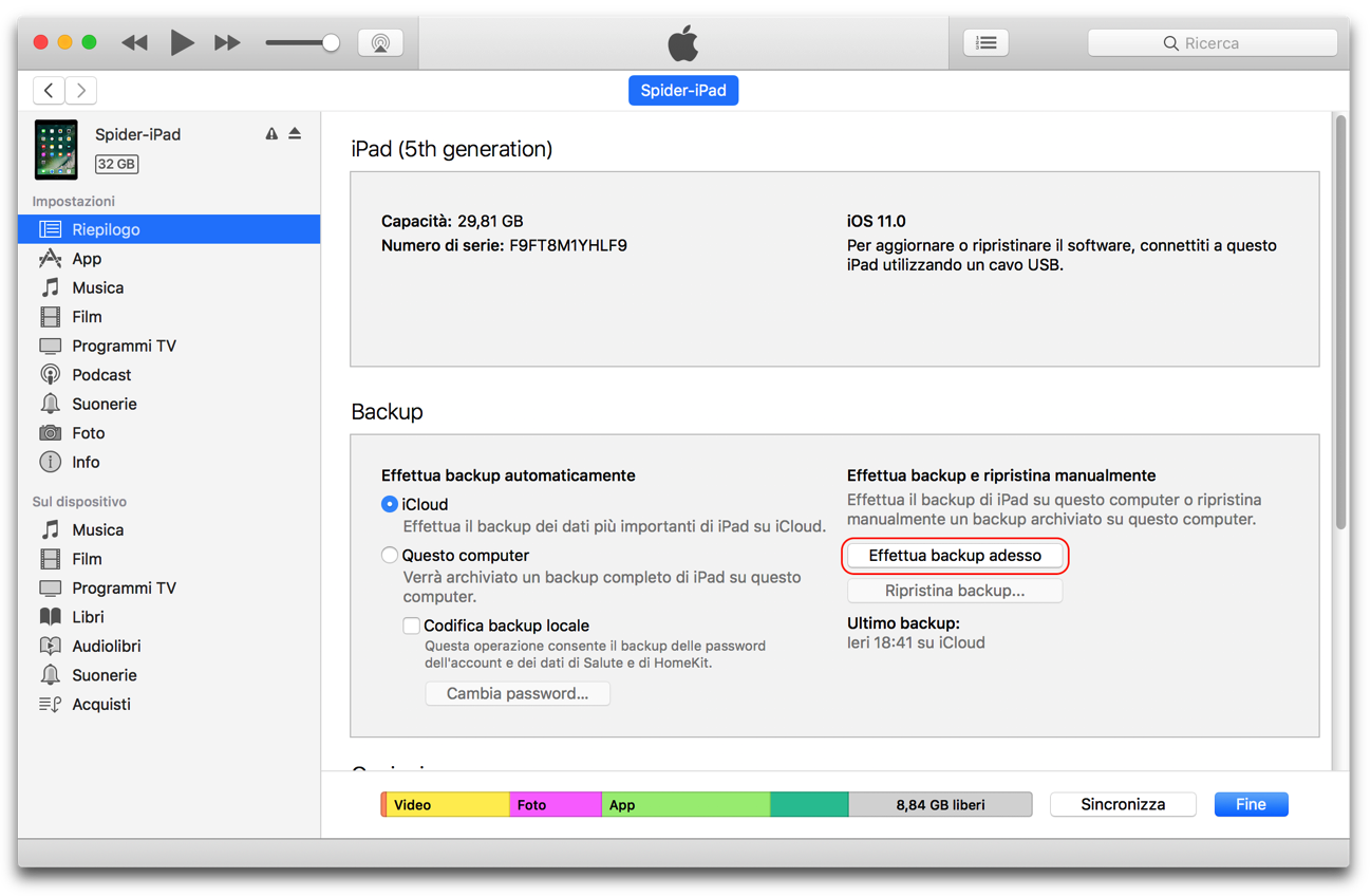 Backup iPad iOS 11
