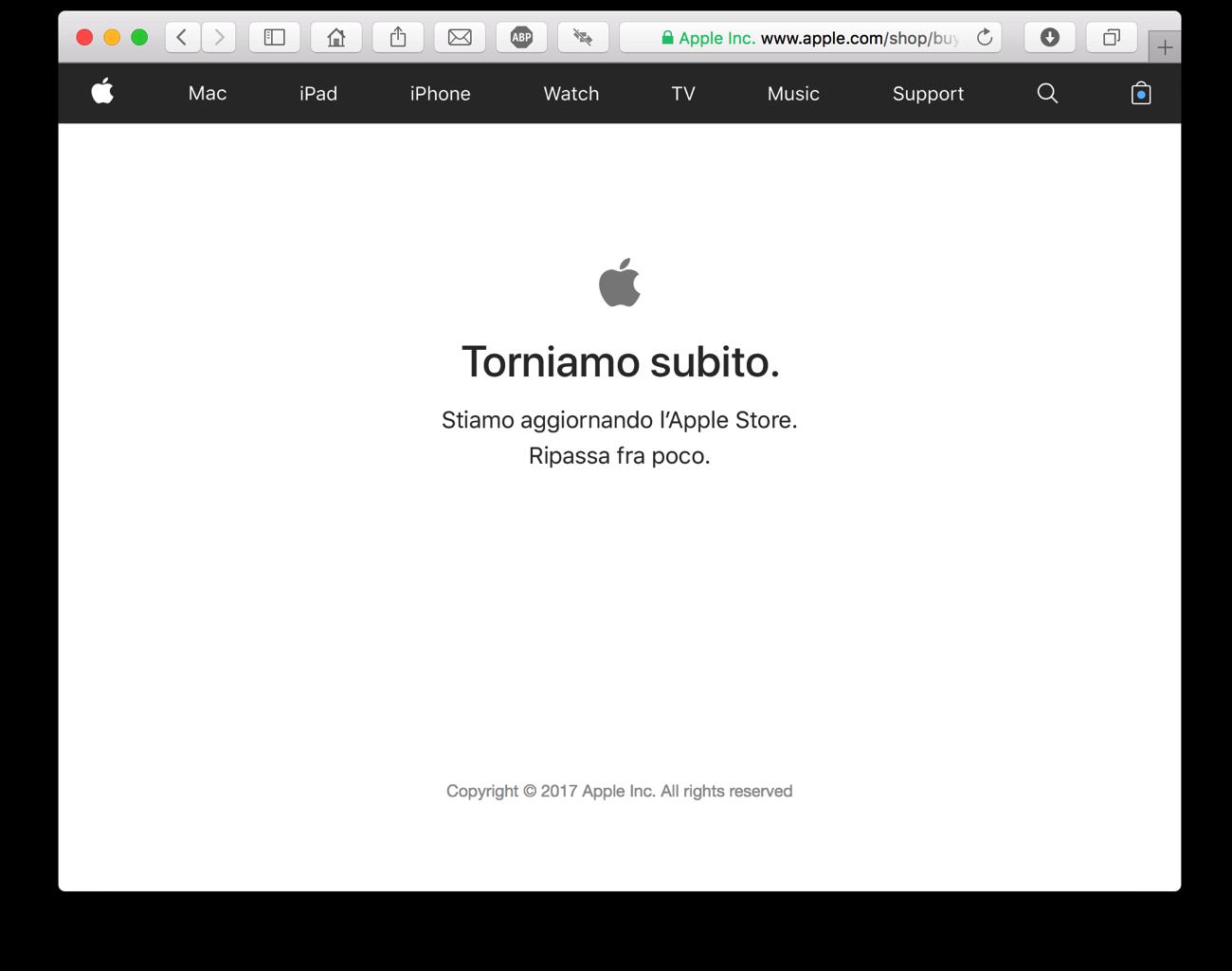 Apple Store offline 12 settembre