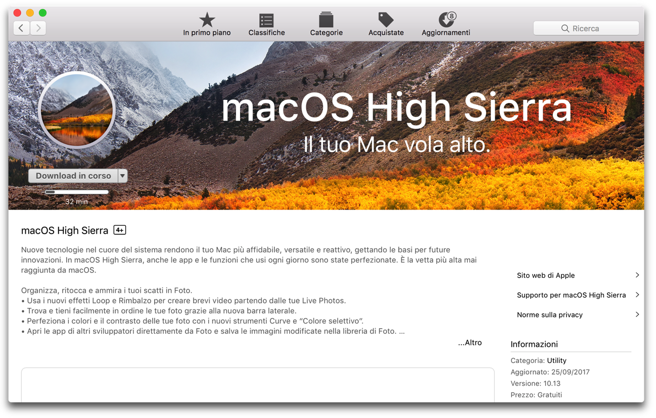 Download macOS High Sierra