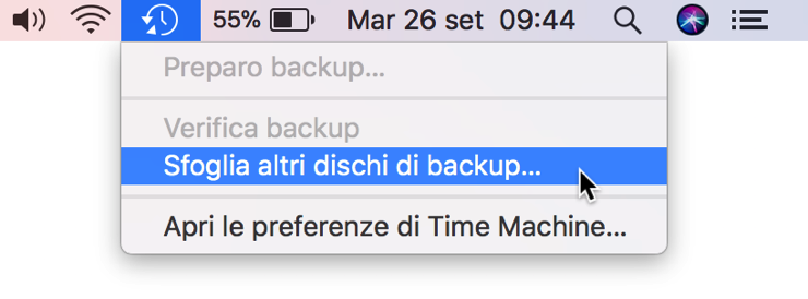 Sfoglia altri dischi backup