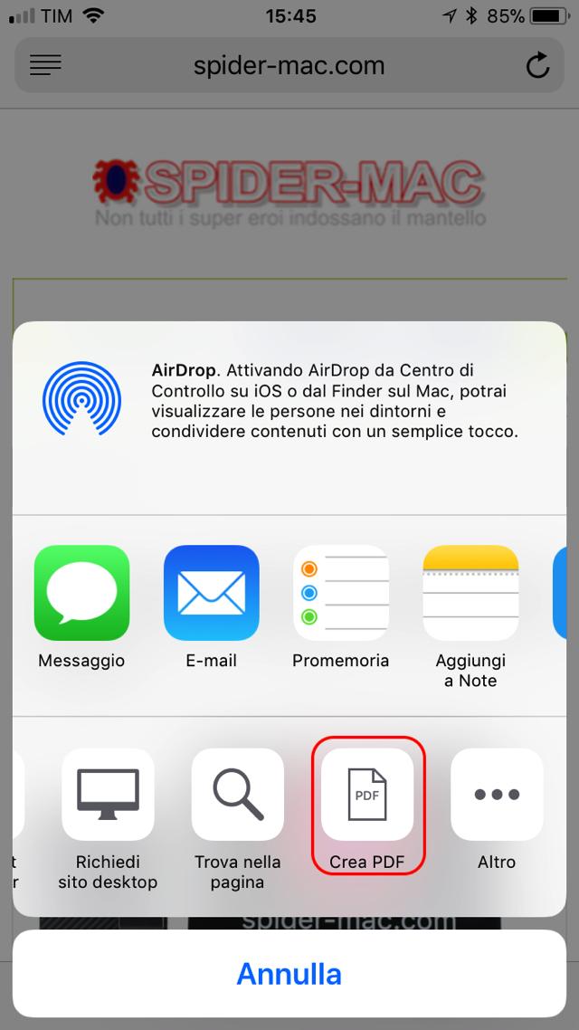Crea PDF iOS 11 Safari