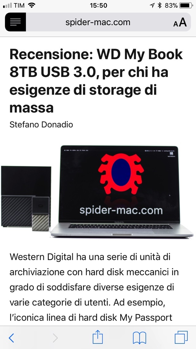 Modalita reader Safari iOS