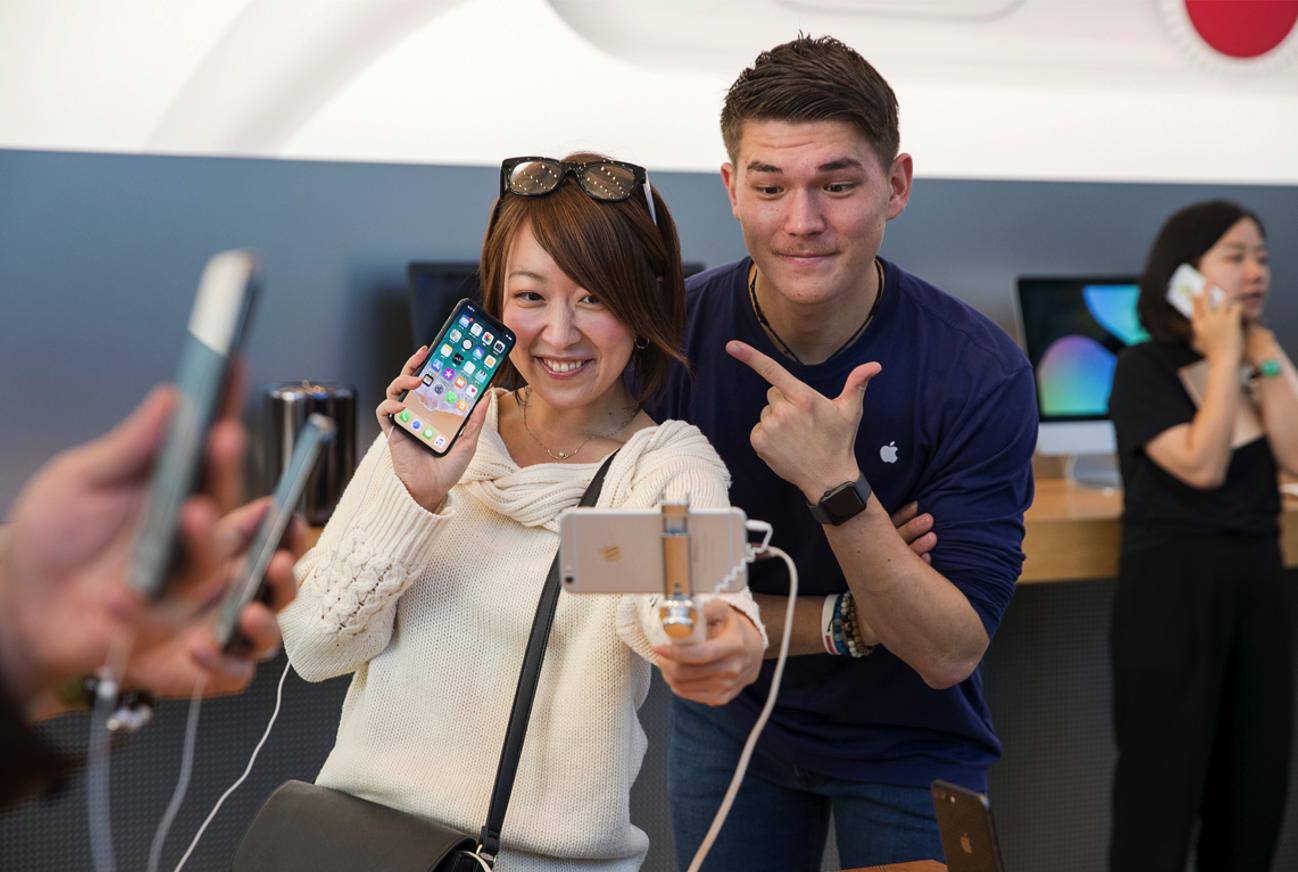 IPhoneX Launch Tokyo customer selfiestick