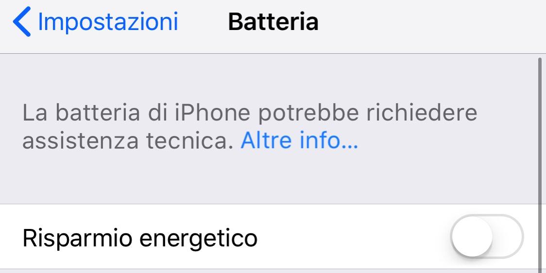 Avviso batteria iOS 11 630