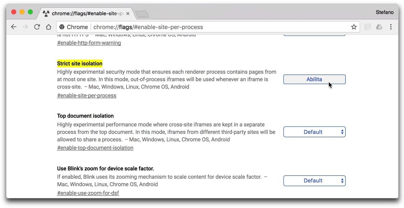 Google Chrome Site Isolation