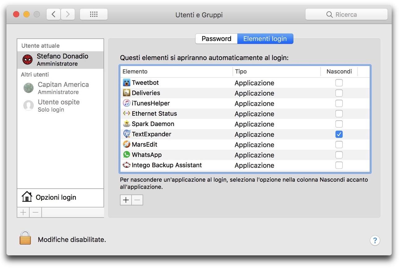 Applicazioni Elementi login