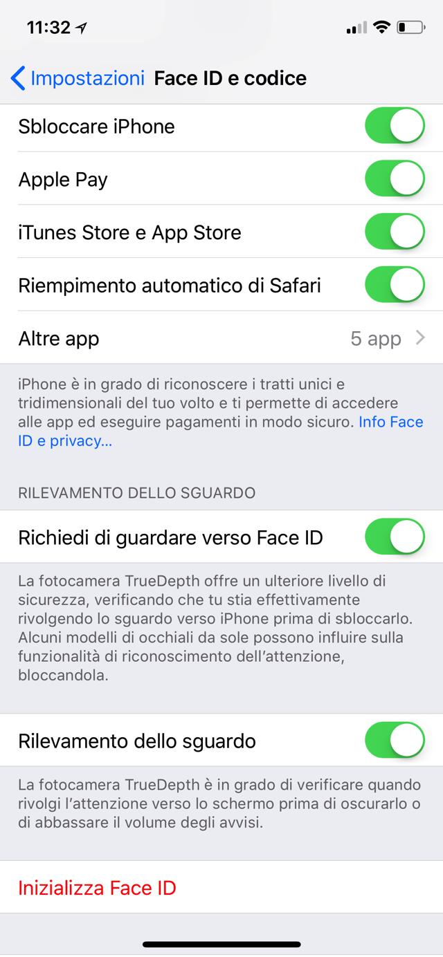 Inizializza Face ID
