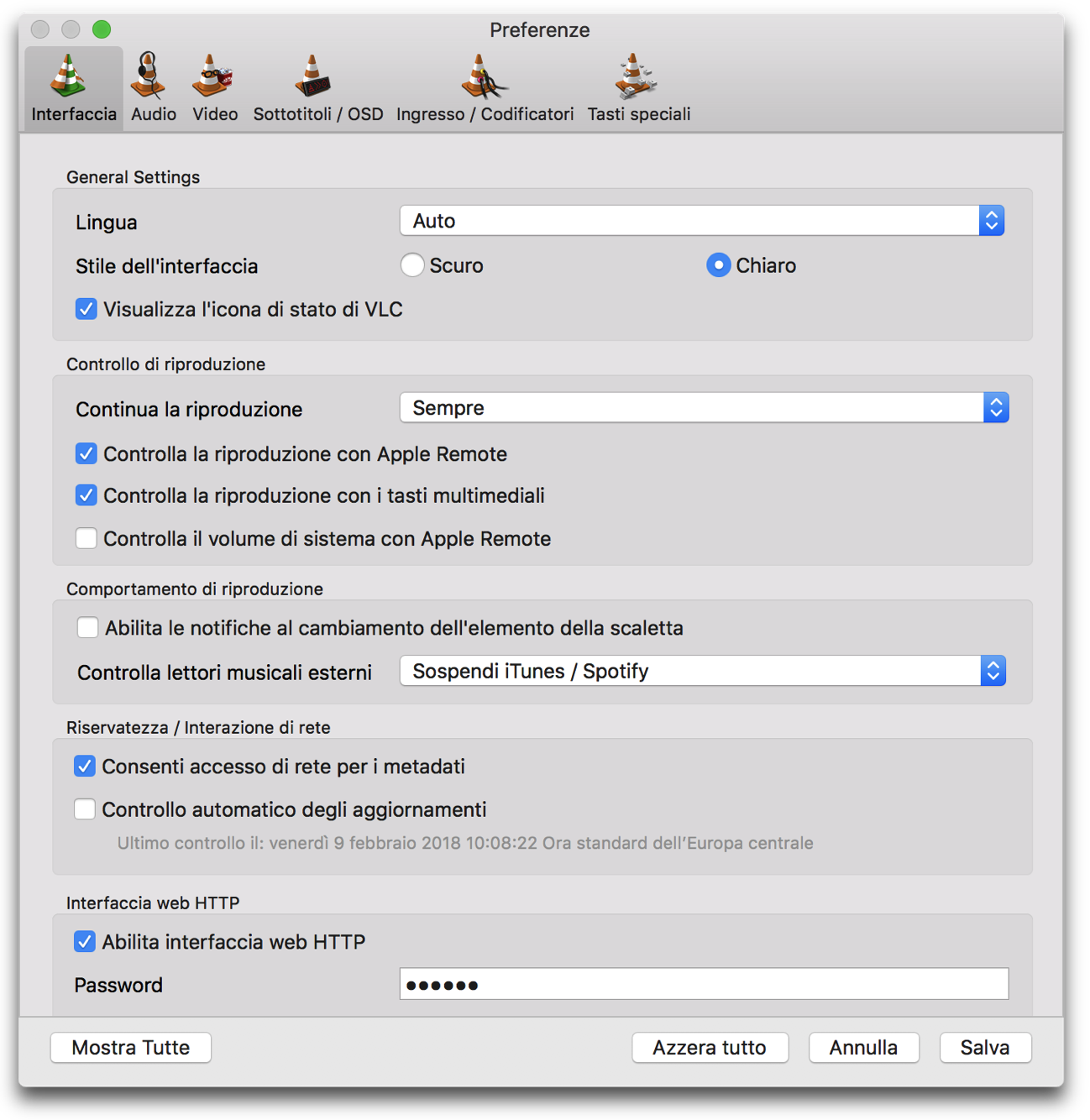 VLC 3 0 preferenze