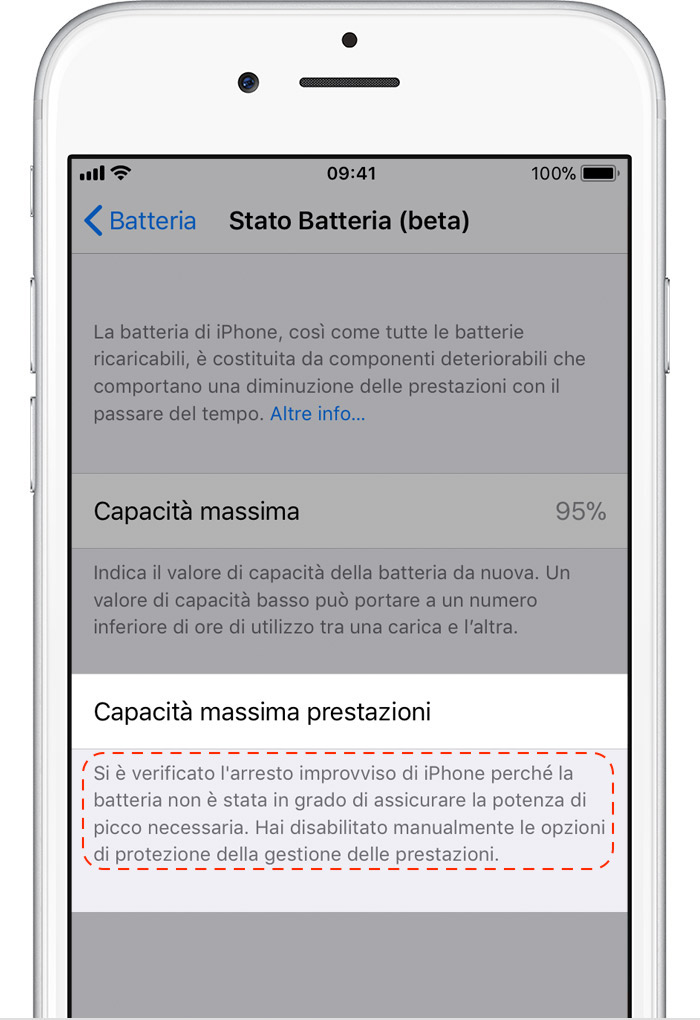 Ios11 iphone6 settings battery health performance management disabled