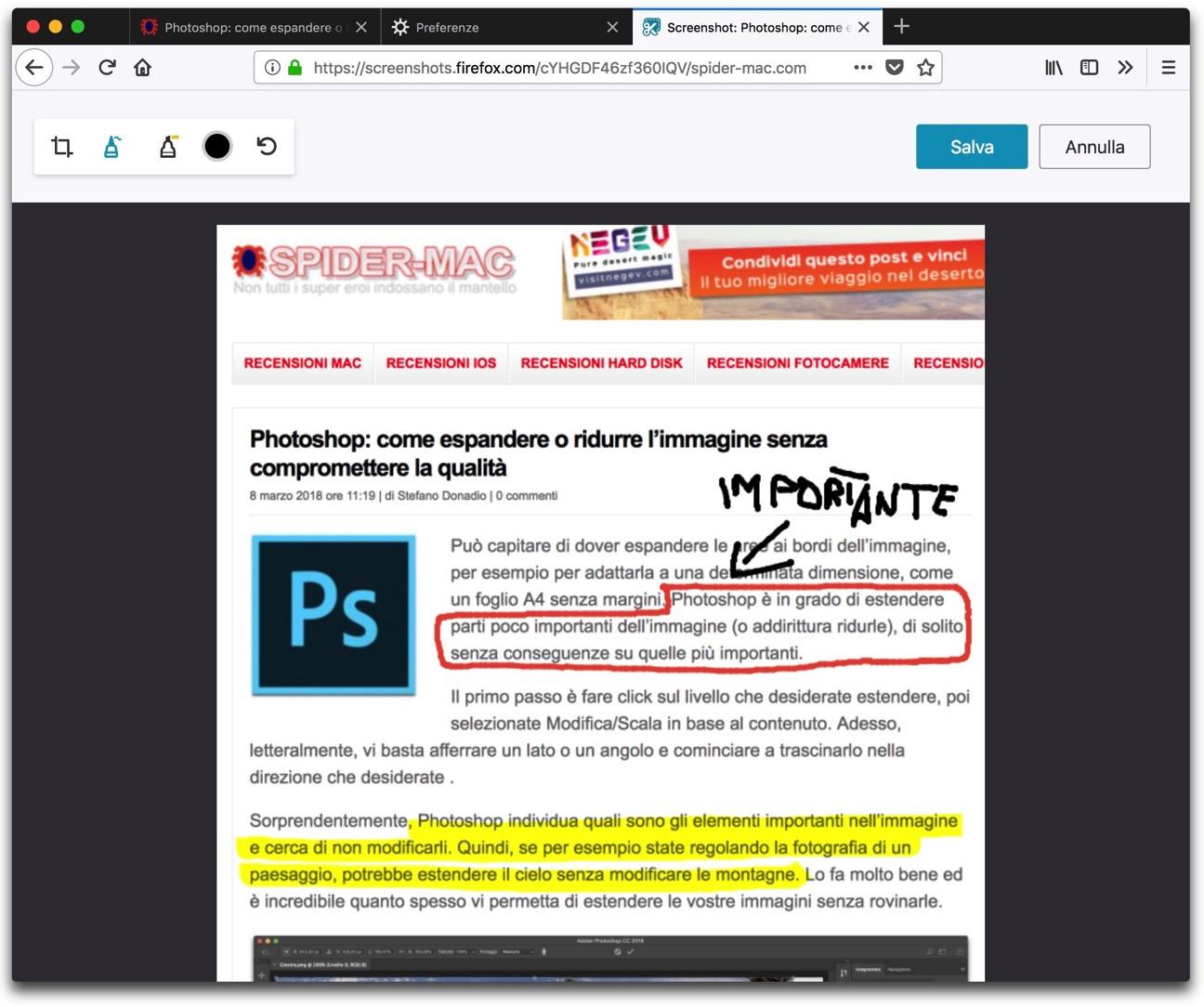 Firefox cattura schermo