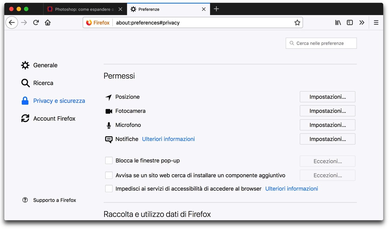 Firefox privacy permessi