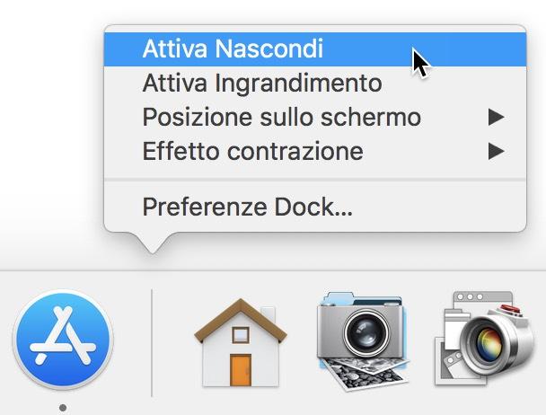 Opzioni Dock