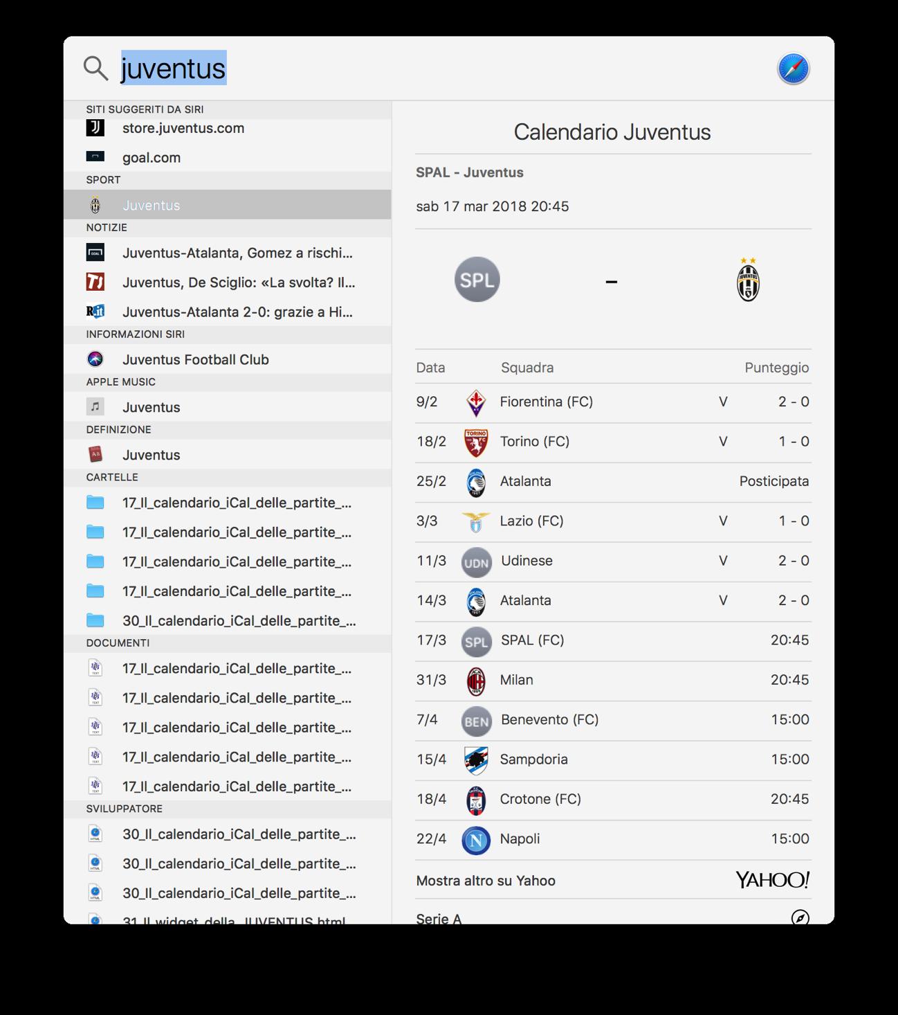 Spotlight Mac risultati sport