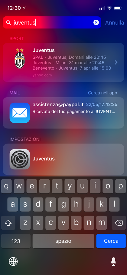 Spotlight iOS risulatti calcio