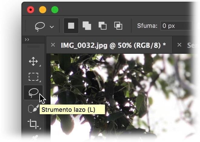 Photoshop strumento lazo