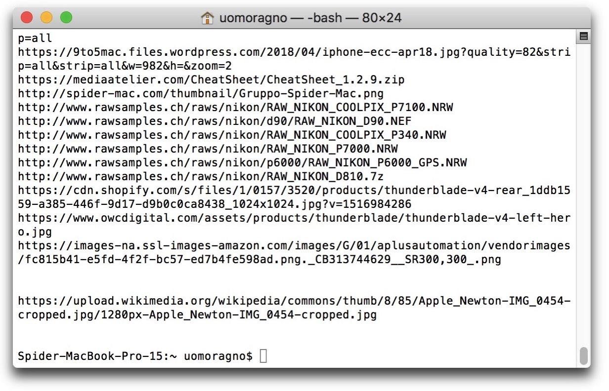 Terminale cronologia download
