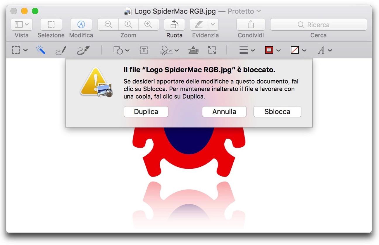 Finder file protetto duplica