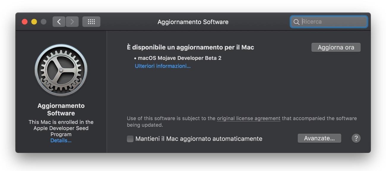 Aggiornamento Software Mojave