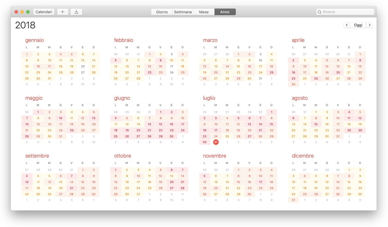 Calendario Mac impegni vista Anno