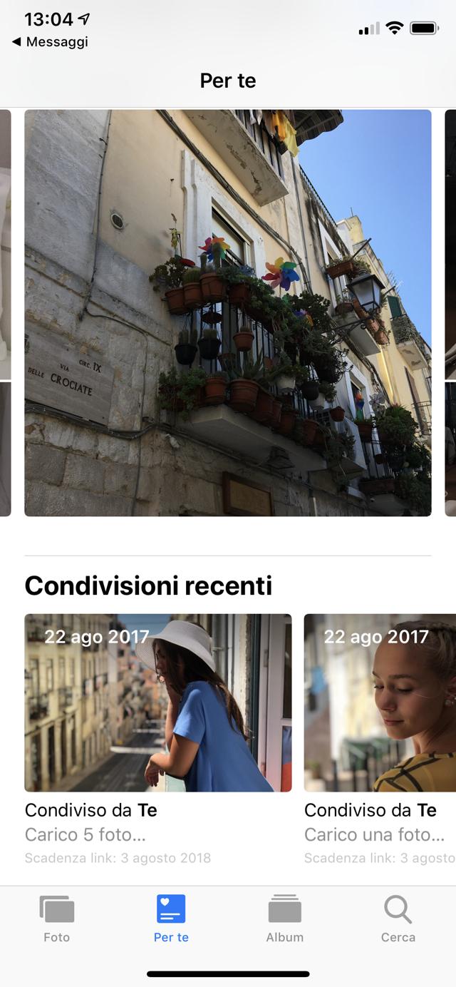 IOS 12 condivisione foto link