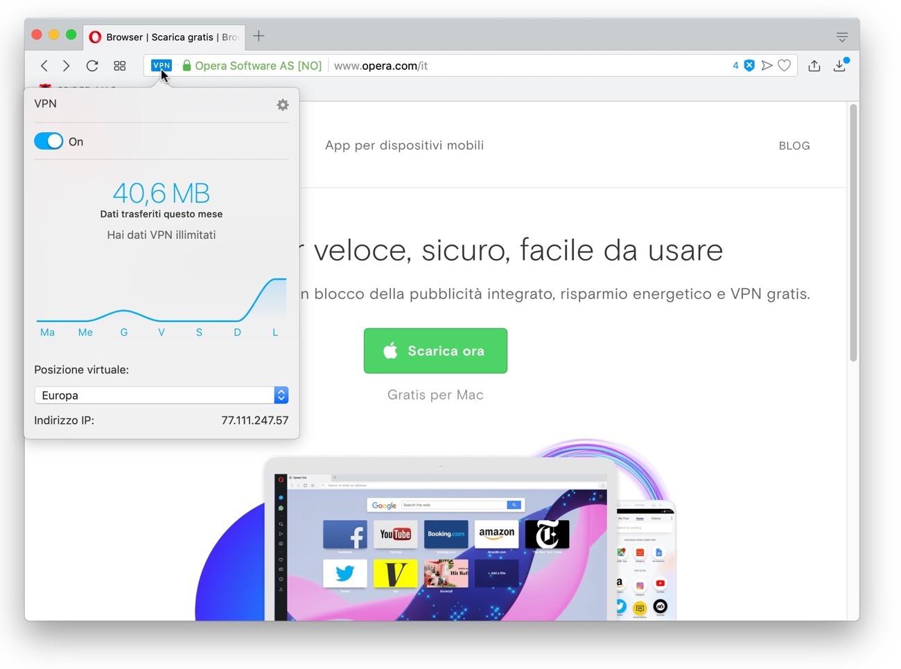 Opera VPN statistiche