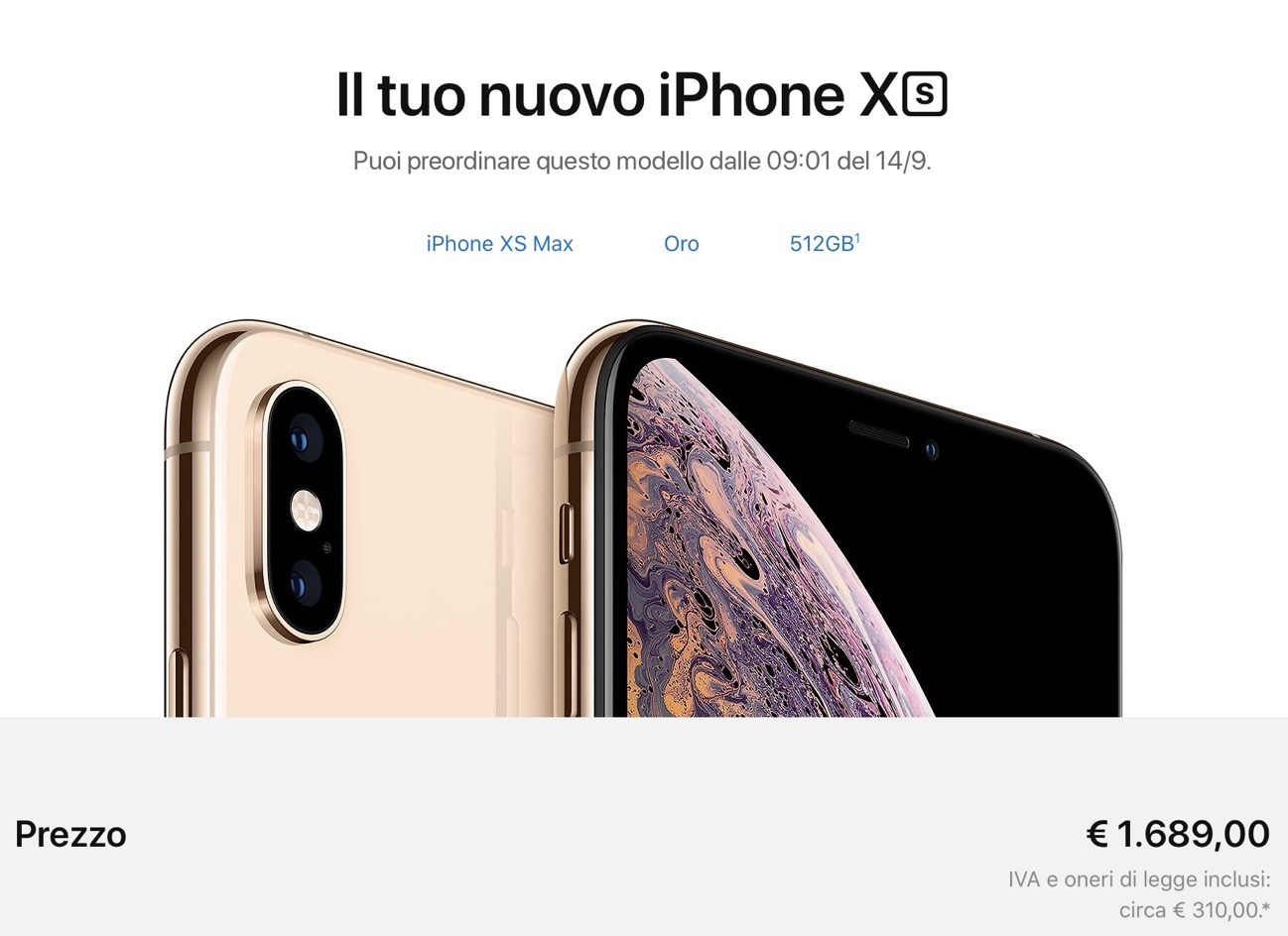 IPhone Xs Max prezzo