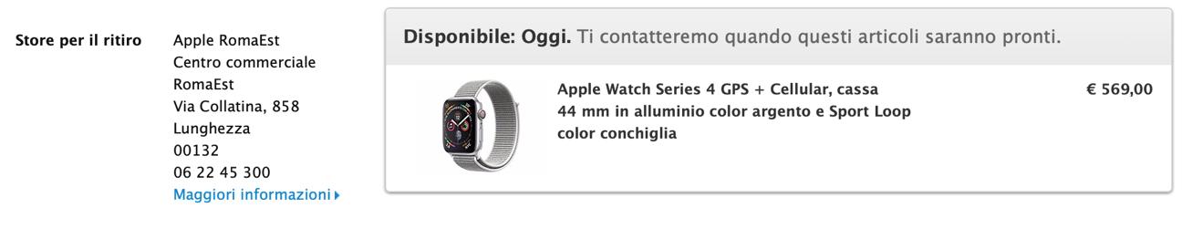 Apple Watch ritiro oggi