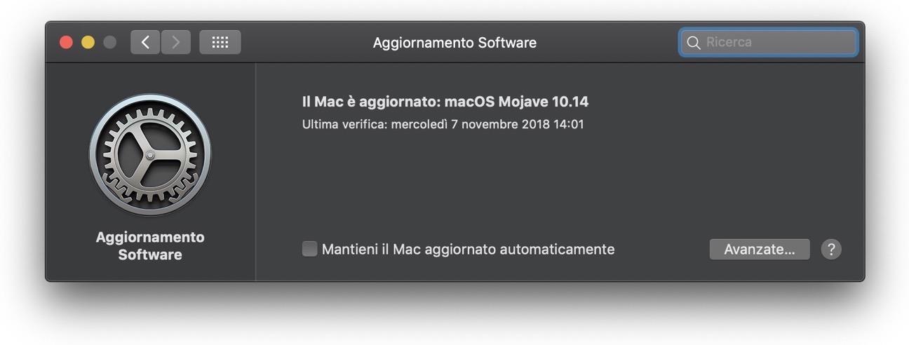 Aggioirnaento software Mojave bloccato