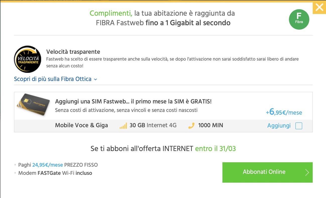 Offerta fibra fastweb