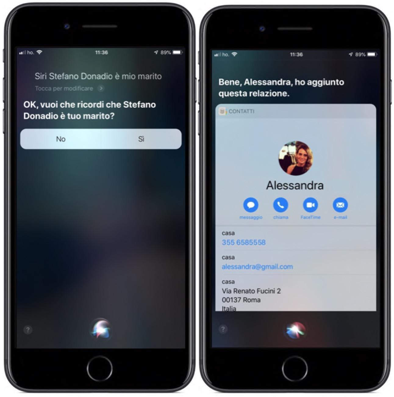 Siri chiama parente