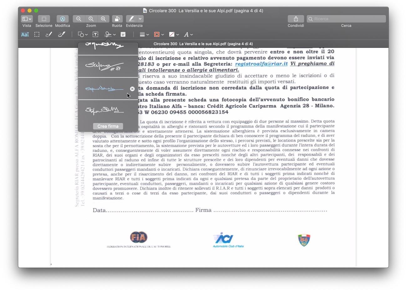 Firma Anteprima macOS catalina