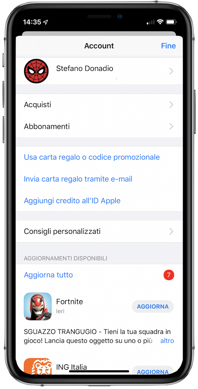IOS 13 aggiorna app