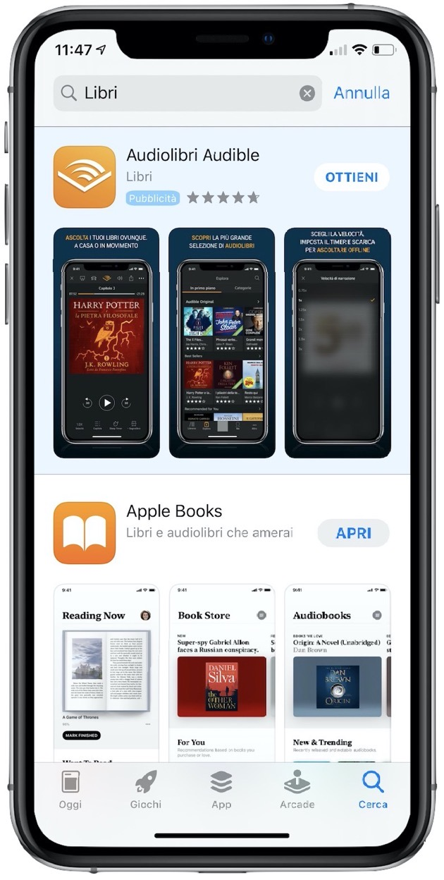 Ricerca libri App Store