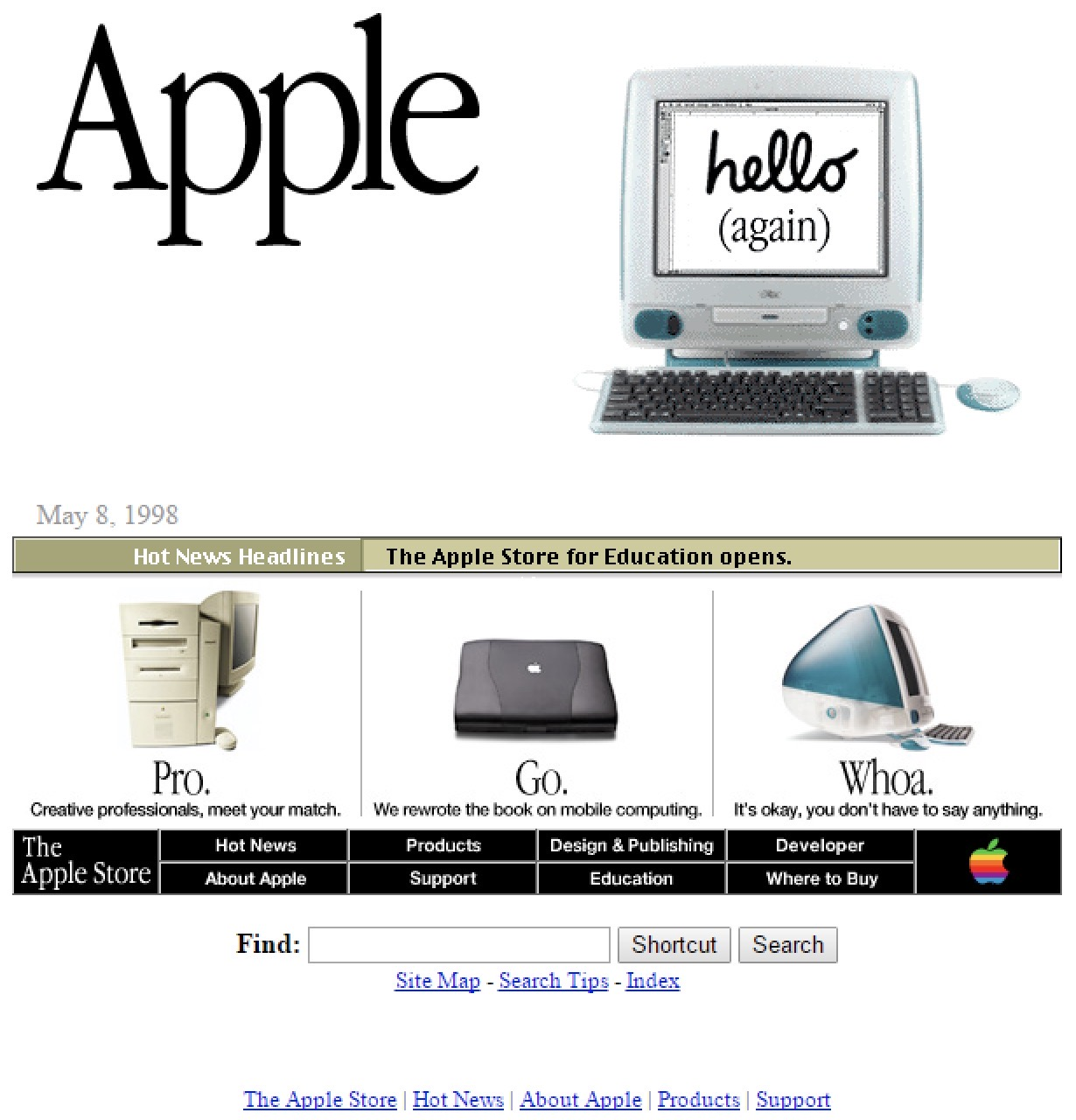 Apple home page iMac 1998