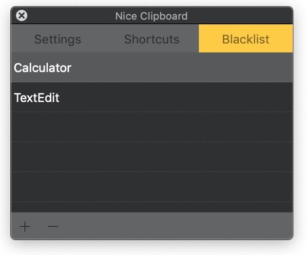 Nice Clipboard blacklist
