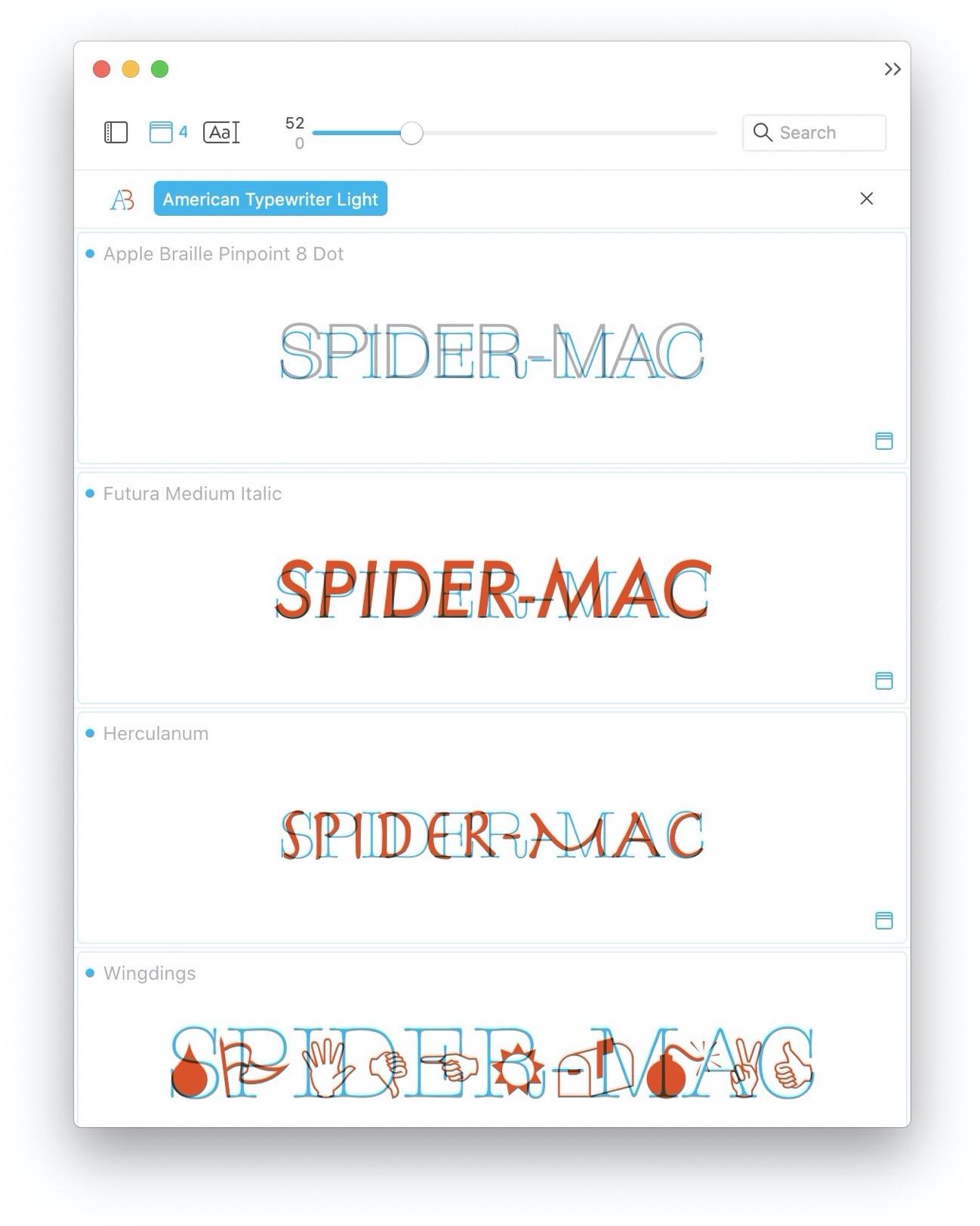 TypeFace comparazione