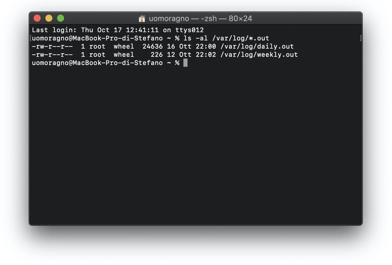 Terminale script manutenzione